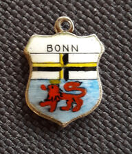 Vintage BONN Germany silver enamel travel bracelet souvenir shield charm