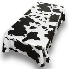 "Moo Cow Print Premum Quality Vinyl Flannel Back Oblong Tablecloth 52"" x 90"""