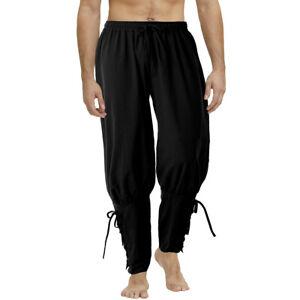 Men's SCA Medieval Reenactment Viking Pants Renaissance Lace Up Bandage Trousers