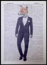 Fox Vintage Dictionary Page Print Wall Art Picture Hipster Animals In Clothes