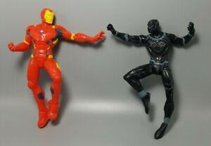 "Marvel Avengers Black Panther & Iron Man Rubber 2 Figure Lot Non-Poseable Set 5"""
