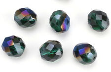 25 Flamboyant Emerald Czech Glass Faceted Fire Polished Round Beads 10 MM