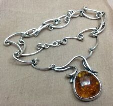 Statement Sterling Silver & Cognac Baltic Amber Pendant Statement Necklace