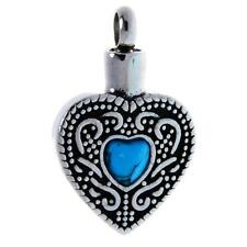Cremation Jewelry Ash Urn Necklace Memorial Keepsake Turquoise Heart Pendant