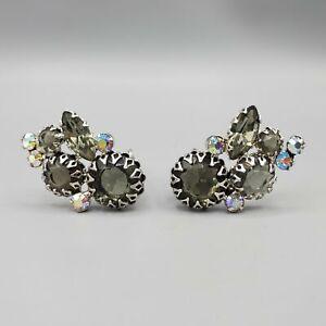 Juliana D&E Verified Smoke Gray Black Diamond Rhinestone Cluster Clip Earrings