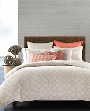Hotel Collection Textured Lattice 100% Linen FULL/QUEEN Duvet Cover Bedding C885