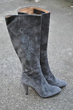 SIDONIE LARICCI Gray Suede Leather Embroidered Knee High Tall Boots 38.5 / 8M