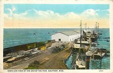 Mississippi, MS, Gulfport, Bird's Eye View of the End of  Pier 1920's Postcard