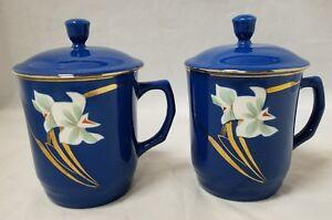 Blue Asian Coffee Mugs Set of 2 w Lid Gold Trim  Daffodils Tea Cups Flowers