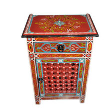 Moroccan Hand Painted Nightstand Wood Table Arabic Design Furniture red