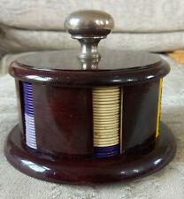 More details for vintage wooden poker chips holder - pre decimal