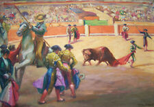 "VICTOR MOYA Y CALVO Signed 1937 Oil Painting - ""Bullfight"""