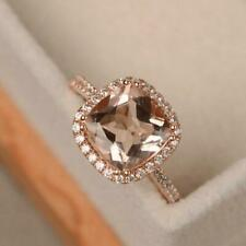 Natural Diamond Cushion Morganite Engagement Halo Women Ring Solid 14K Rose Gold