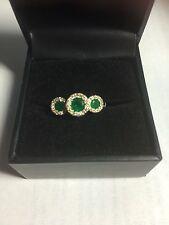 EFFY 3 EMERALD Diamond Halo 14K YG BRASCILICA Ring 7 3/4 $1,800