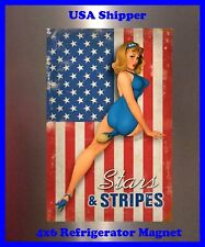 Stars and Stripes Pin up Girl Man Cave DECOR SIGN 4x6 magnet Fridge Bar Toolbox