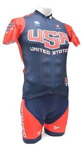 Cuore Team USA Short Sleeve Cycling Kit Men SMALL XL Blue Road Bike MTB Race