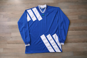 Adidas Vintage 80's 90's Template Football Shirt Maglia Jersey Blue Mint Rare L