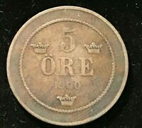 1900 Norway 5 Ore coin EF Plus