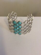 Lucky Brand Cuff Silver Tone Turquoise Beaded Bracelet #146a