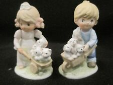 Vintage Homco Home Interiors Figurine Girl with duck boy with sheep #1449