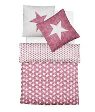 Fleuresse Fein Biber Baumwolle Bettwäsche Set 135 x 200 Sterne Rot Weihnachten