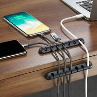 Flexibl USB Charge Cable Holder Desk Cable Winder Clip Organizer Cord Management