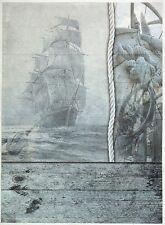 Carta di riso per Decoupage Decopatch Scrapbook Craft sheet vintage barca a vela blu