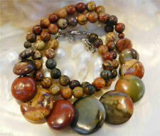 """Natural 6-20mm Multicolor Picasso Jasper Round & Coins Beads Necklace 18"""" AAA"""