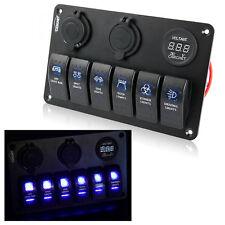 6 Vie Blu LED Interruttore Pannello Marine Impermeabile per Barca e Yacht 2 USB