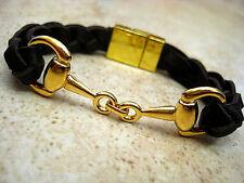 Snaffle Bit & Magnet Clasp~ ~Braided Espresso Leather Bracelet Gold Equestrian