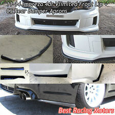 Vlimited Style Front + CS Style Rear Bumper Aprons Fit 11-14 Impreza WRX STi 4dr