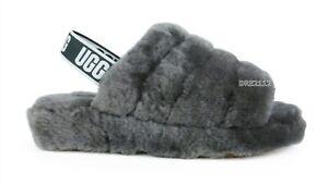 UGG Fluff Yeah Slide Charcoal Fur Slippers Womens Size 10 *NIB*
