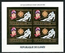 GUINEE 1984 JO Olympic games Winter SARAJEVO SKI Gold Foil MICHEL 1010 B 240 e