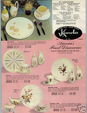 1959 PAPER AD 2 PG Knowles Oven Proof China Dinnerware Blossom Time Fesival Rose