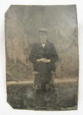 Young Man Skimmer Hat Nature Backdrop Antique 6th Sixth Plate Tintype No Case O