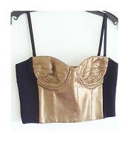 Sass Bide Size 10 Happy Up Here Black Gold Corset Bustier Bralette Top Madonna