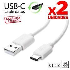 PACK X2 Cables USB C a USB 1 metro  cargador y datos Tipo C blanco