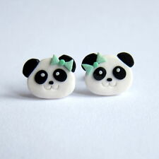 Funny Panda Bear Polymer Clay Handmade Girls Gifts Ideas Kawaii Earrings Jewelry