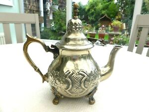 MOROCCAN SILVER PLATED TEA POT WITH EMBOSSED PATTERNS   1590868/873