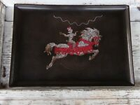 Vintage Couroc Poodle on Carousel Horse Mid Century Modern Tray