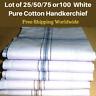 Lot of 25/50/75or 100 Men's White Handkerchiefs Business Hankies Cotton 45x45 CM