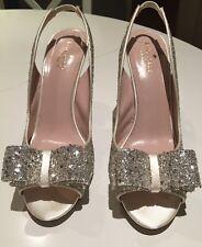 Kate Spade New York Charm Glittered Bow Slingback Heel, Silver, Size 9
