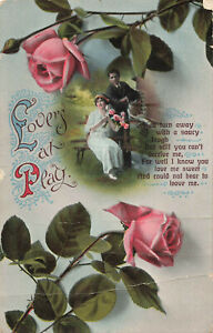 Lovers at Play Romantic Rare Vintage Postcard  Early 20th Century.