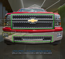 Black Formed Mesh Grille Combo Insert For Chevy Silverado 1500 2014-2015