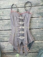 Vintage Goth Steampunk Brown Boned Corset Cosplay Costume Pirate Size 20