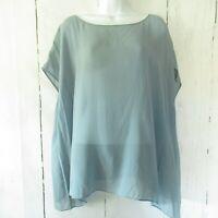 Eileen Fisher Top XL X Large Slate Blue Tunic Top Bateau Neck Sheer Silk