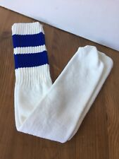 NEW Vintage 70s 80s Over the Calf Tube Socks Blue Striped Athletic NOS