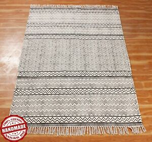 Area Rugs Indian Hand Block Printed Cotton Dhurrie New Antique Look Carpet 9x12