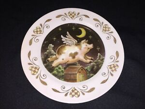 Flying Heart Pig And Moon - Country Farm Scene Decorative Collector Plate