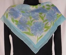 Vera Neuman Sheer Silk Square Scarf Blue Flowers Green Leaves Signed Vintage